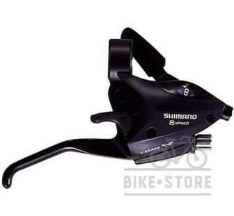 Тормозная ручка / манетка Shimano ST-EF50 левая, 8-зв +тросик, черный